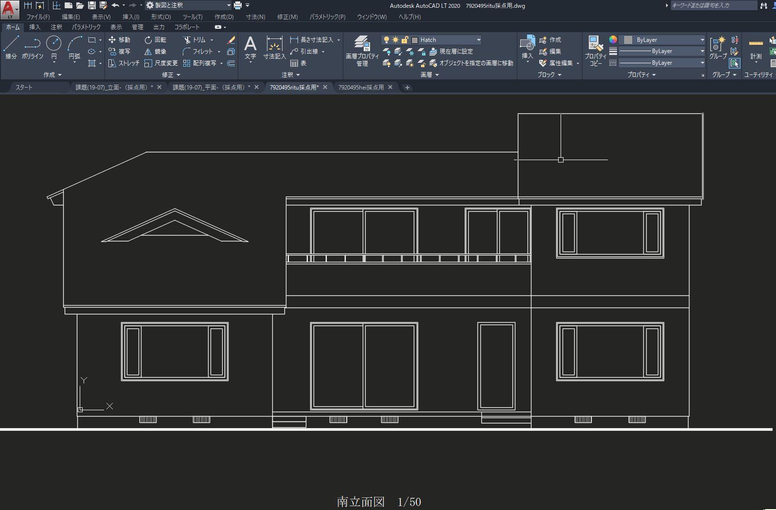 建築cad検定試験2級立面図